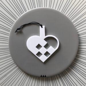 Ryborg ornament Hjerte hvid
