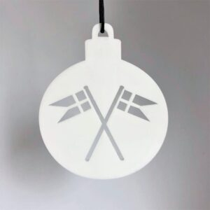 Ryborg ornament Kugle med flag hvid