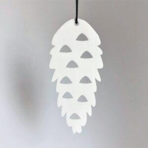 Ryborg ornament Kogle hvid