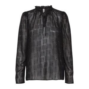 Pulz Vigga bluse sort med sølv